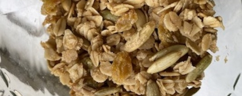 granola with seeds in a glass